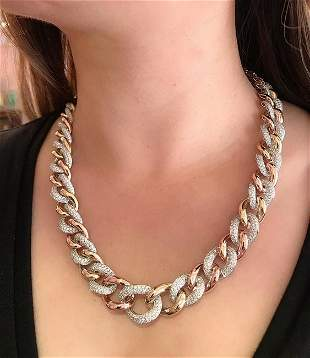 Long Pave Diamond Curb Link Necklace Convertible to