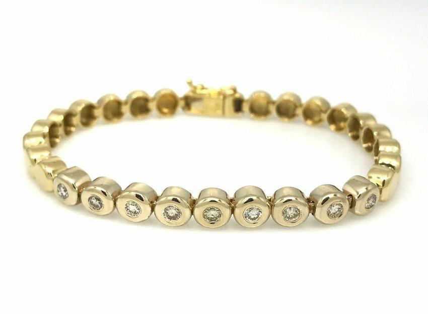 Bezel Set Round Brilliant Diamond Line Tennis Bracelet