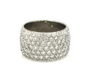 377 cts Wide Diamond Cocktail Band Ring in 18k White