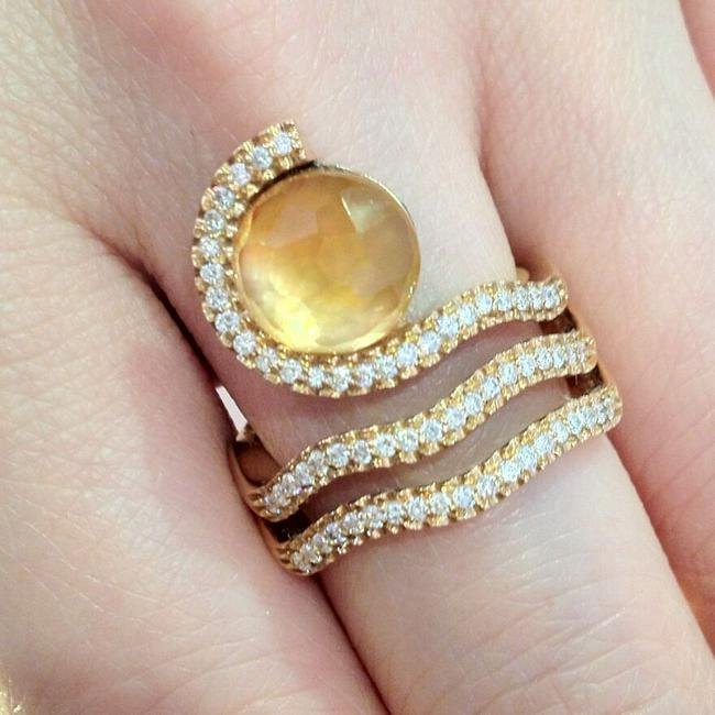 Citrine and Diamond Wrap Ring in 18k Yellow Gold-