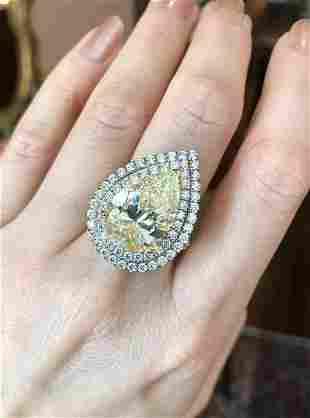 GIA 10.06 ct Pear Brilliant Cut Diamond Double Halo