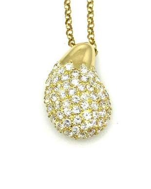 1.31 cts Diamond Pave Tear drop Pendant Necklace in 18k