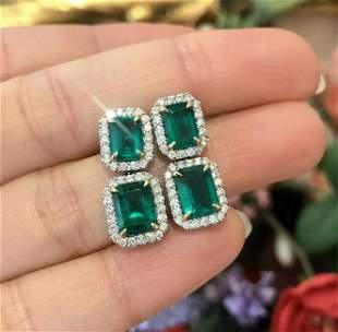 Emerald & Diamond Drop Earrings in 18k White Gold -