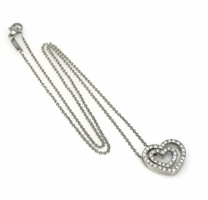 Double Heart Diamond Pendant with Round Diamonds in