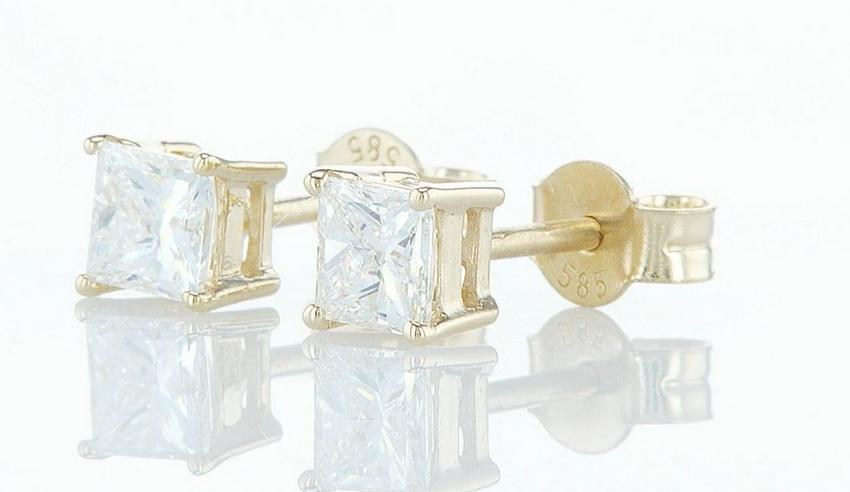 14 kt. Yellow gold - Earrings - 0.85 ct Diamond -