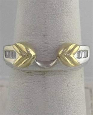 LADIES 14K YELLOW WHITE GOLD 15ct BAGUETTE DIAMOND
