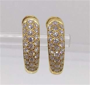 Cartier 18K Yellow Gold Mimi Diamond Huggies Earrings
