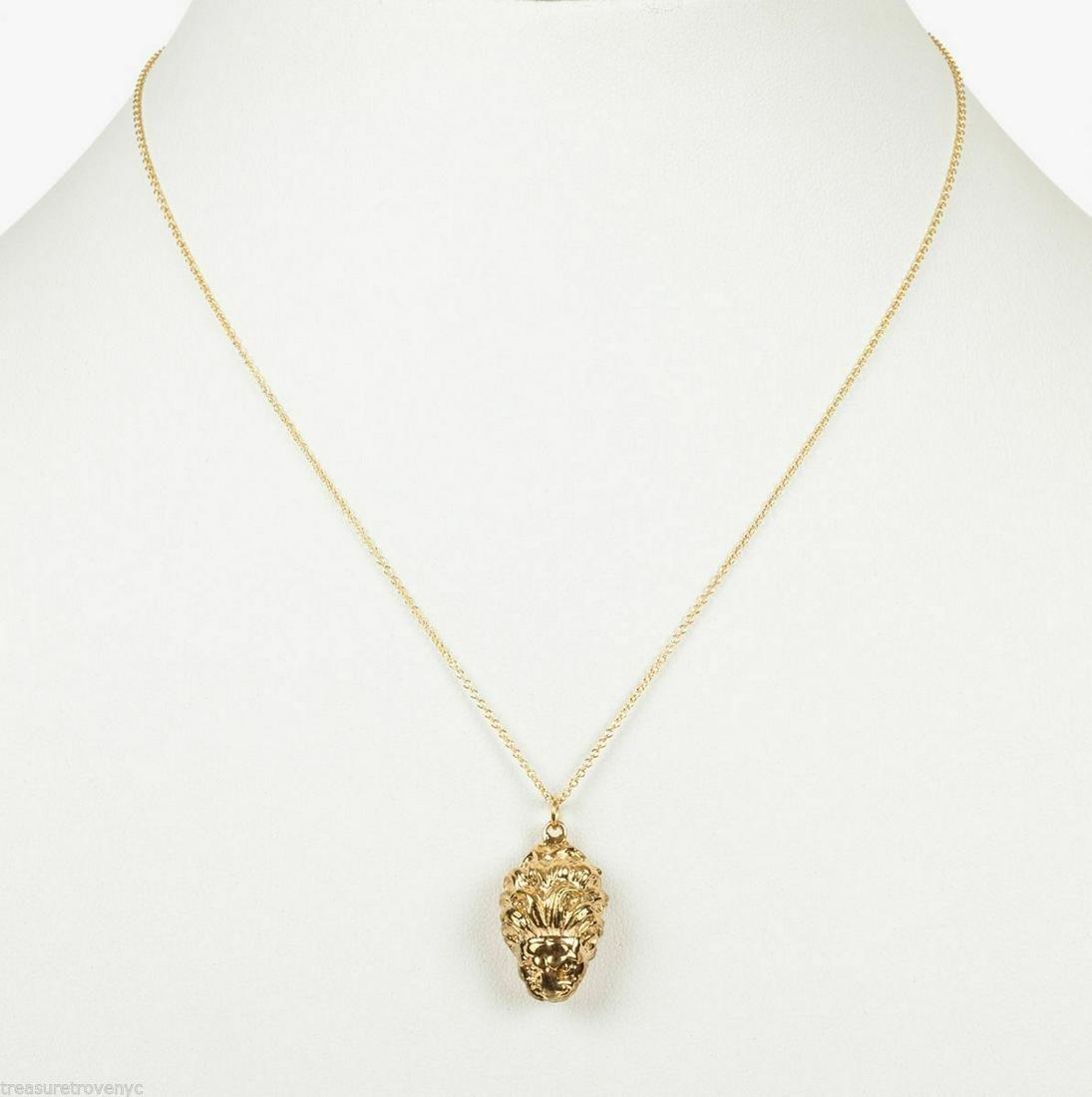 18 kt Gold Vermeil over Brass Etruscan Lion Pendant