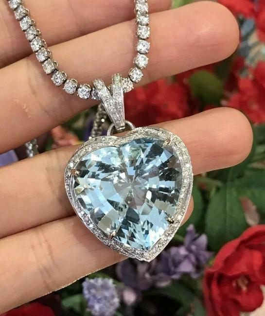40 ct Heart Shape Aquamarine and Diamond Pendant in 18k