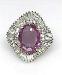 12.07cts Oval Pink Sapphire and Diamond Ballerina Ring