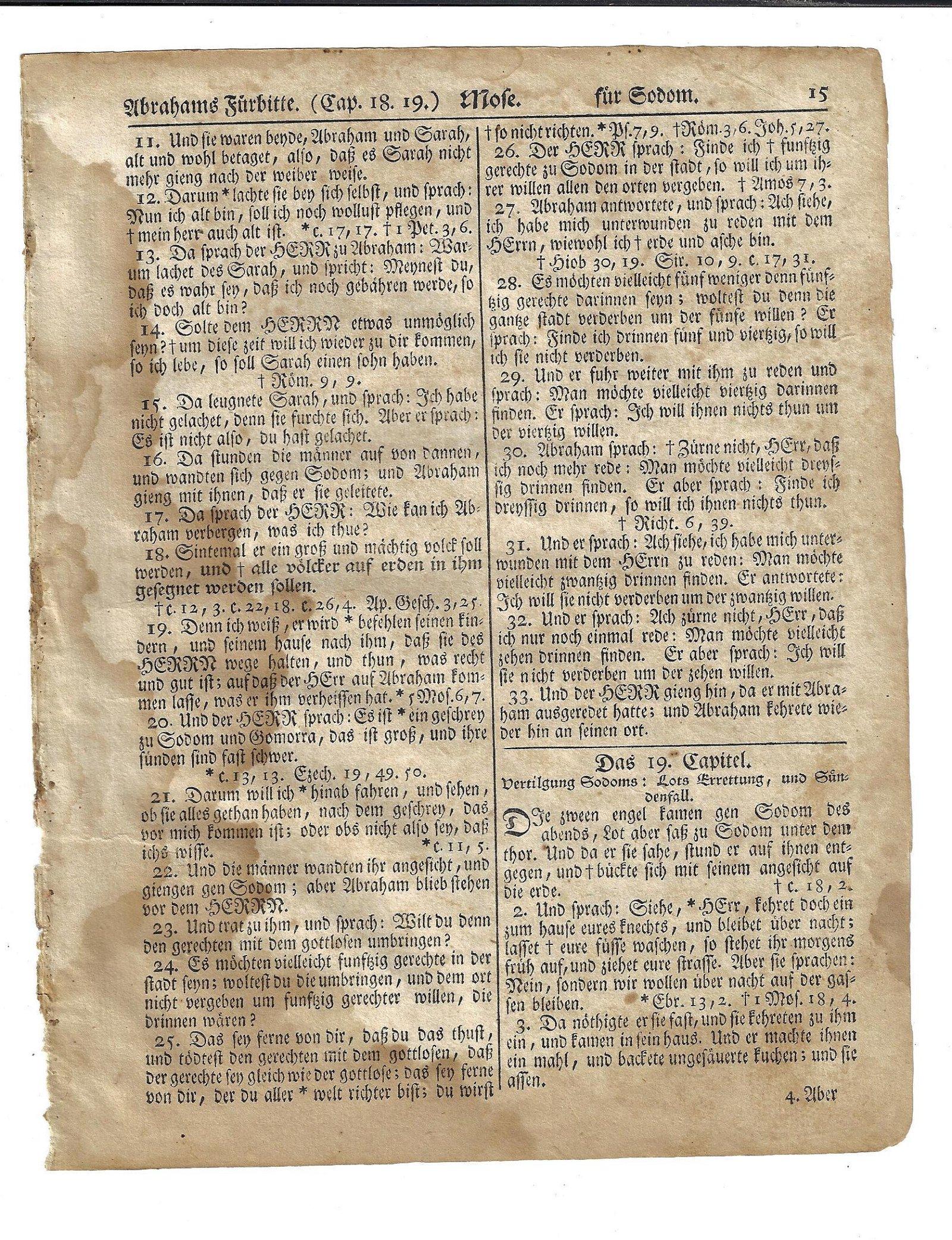 1776 Saur Gun-Wad Bible Leaf Revolutionary War