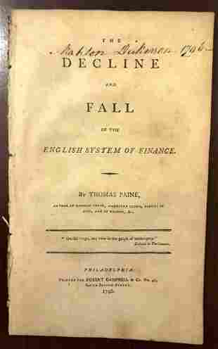 1796 Paine Decline and Fall System of Finance