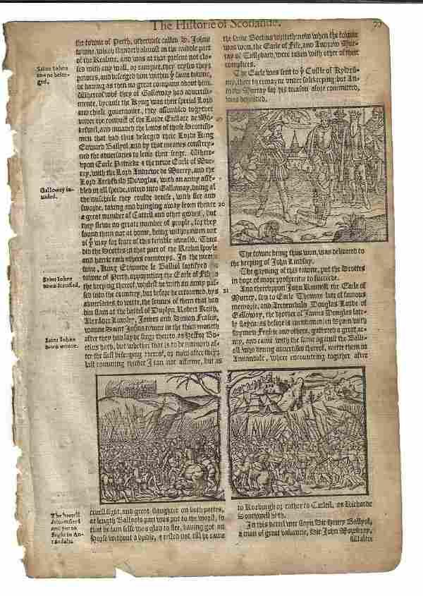 1577 Holinshed Woodcut Leaf Battle