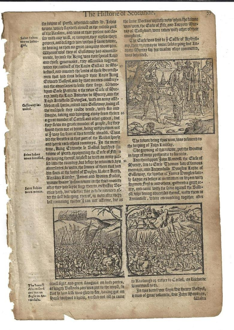 1577 Holinshed Woodcut Leaf Battle