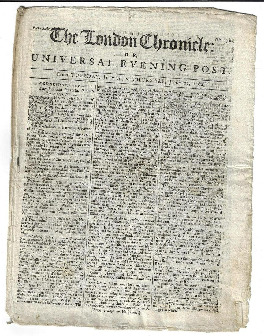1762 London Chronicle Newfoundland