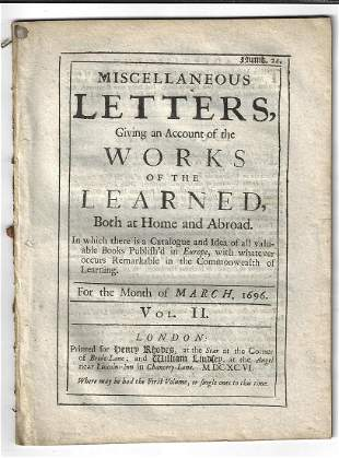 1696 Miscellaneous Letters Literary Review