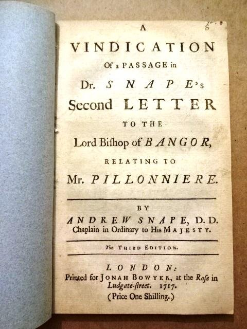 1717 Vindication Snape Letter Protestants