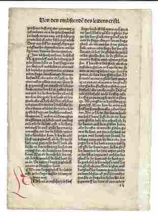c1485 German Incunabula Leaf Life of Christ