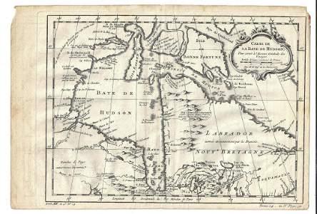 c1757 Bellin Map of Hudson's Bay