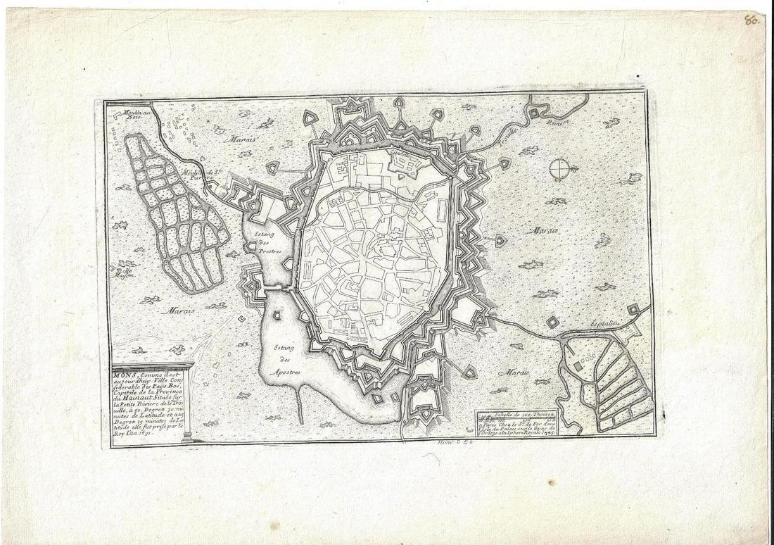 1705 Engraved Plan Fortified Island De Fer