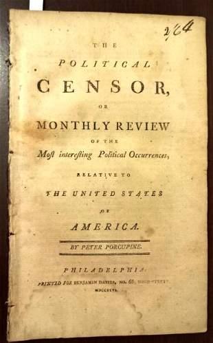 1796 The Political Censor Peter Porcupine Congress