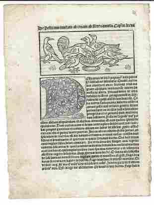 1509 Leaf Dialogus Creaturarum Woodcut Pelicanos