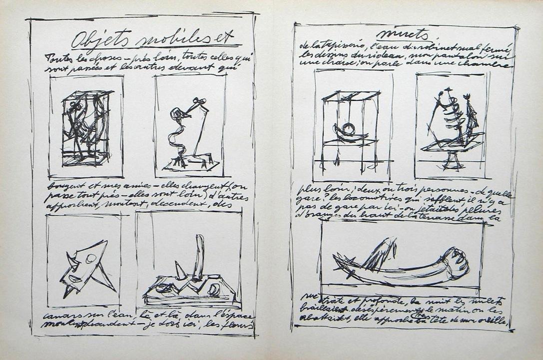 """Alberto Giacometti original lithograph """"Objets mobiles"""