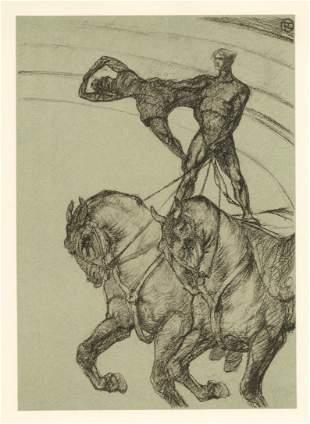 """Toulouse-Lautrec lithograph   Circus """"Le pas de deux"""""""