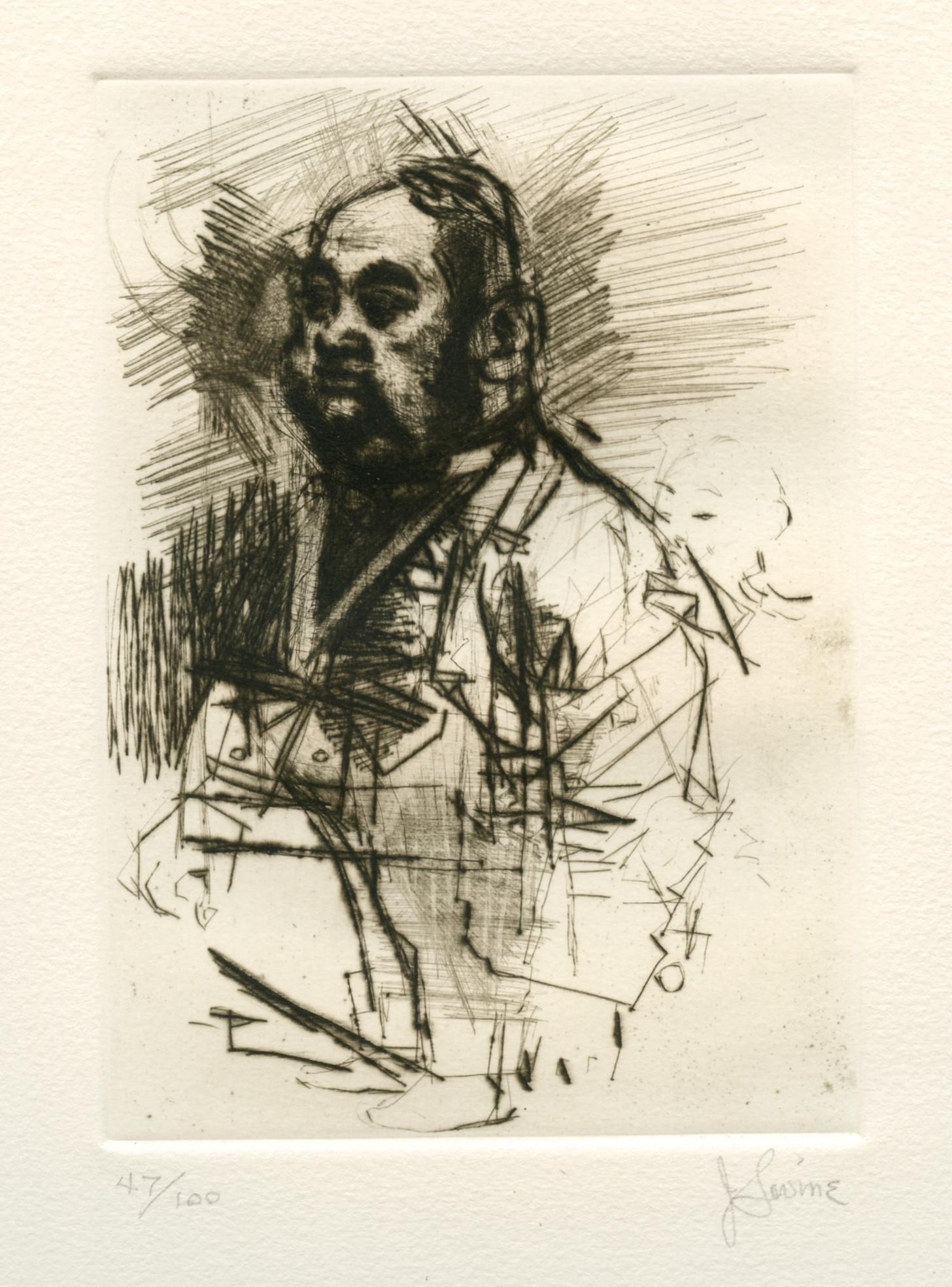 """Jack Levine signed original etching """"Hong Kong Tailor"""""""