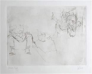 Jack Levine signed original etching Jenny Visits