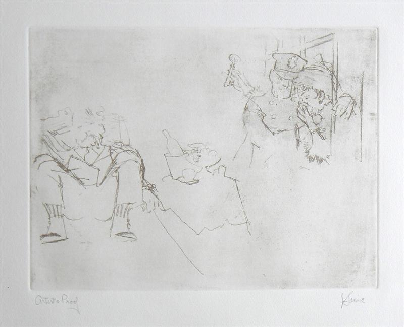 """Jack Levine signed original etching """"Jenny Visits"""