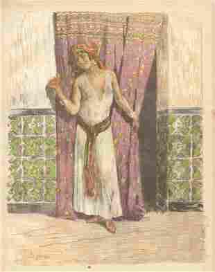 """Alexandre Lunois lithograph """"La Femme de Fez"""""""