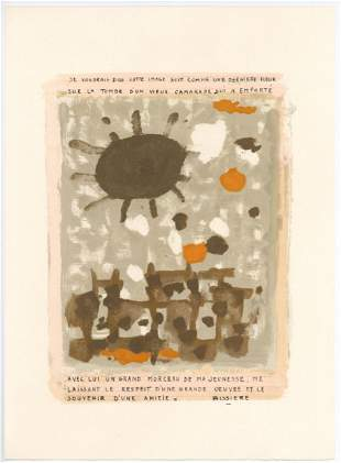 Roger Bissiere lithograph Homage to Braque