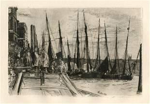 James Whistler original etching Billingsgate