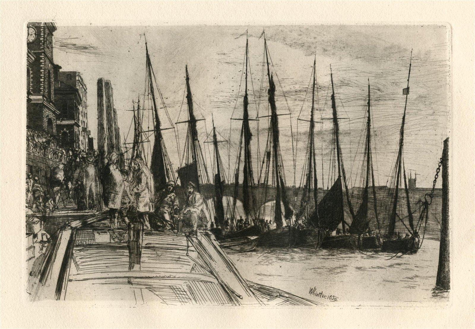 """James Whistler original etching """"Billingsgate"""""""