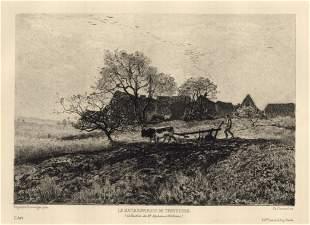 Hippolyte Boulanger etching Le matin environs de