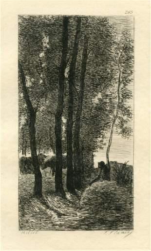 JeanFrancois Millet etching Paysage