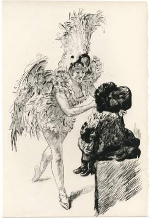Paul Renouard original etching A Drury Lane Avant de
