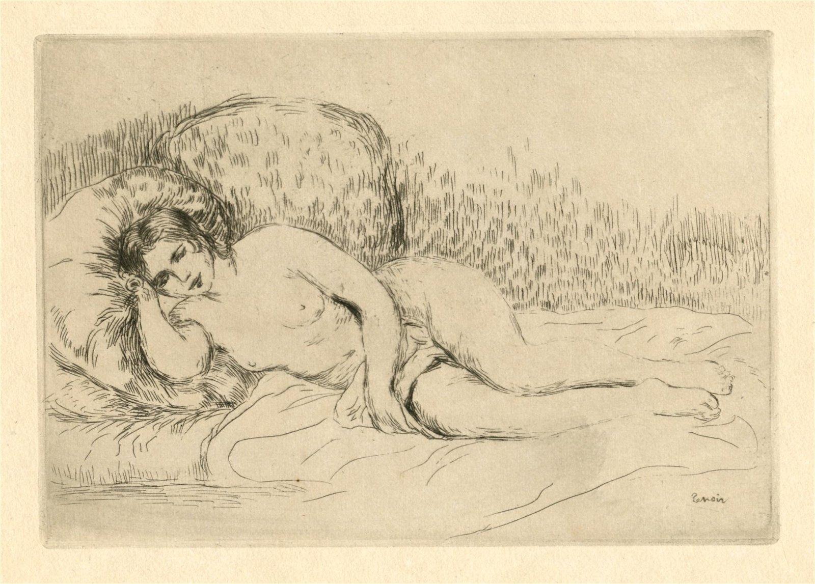 "Pierre-Auguste Renoir original etching ""Femme nue"