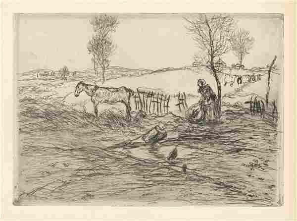 """Jean-Francois Raffaelli original etching """"La terrain"""
