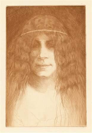 "Henri Guerard original etching ""Tete de jeune fille"""