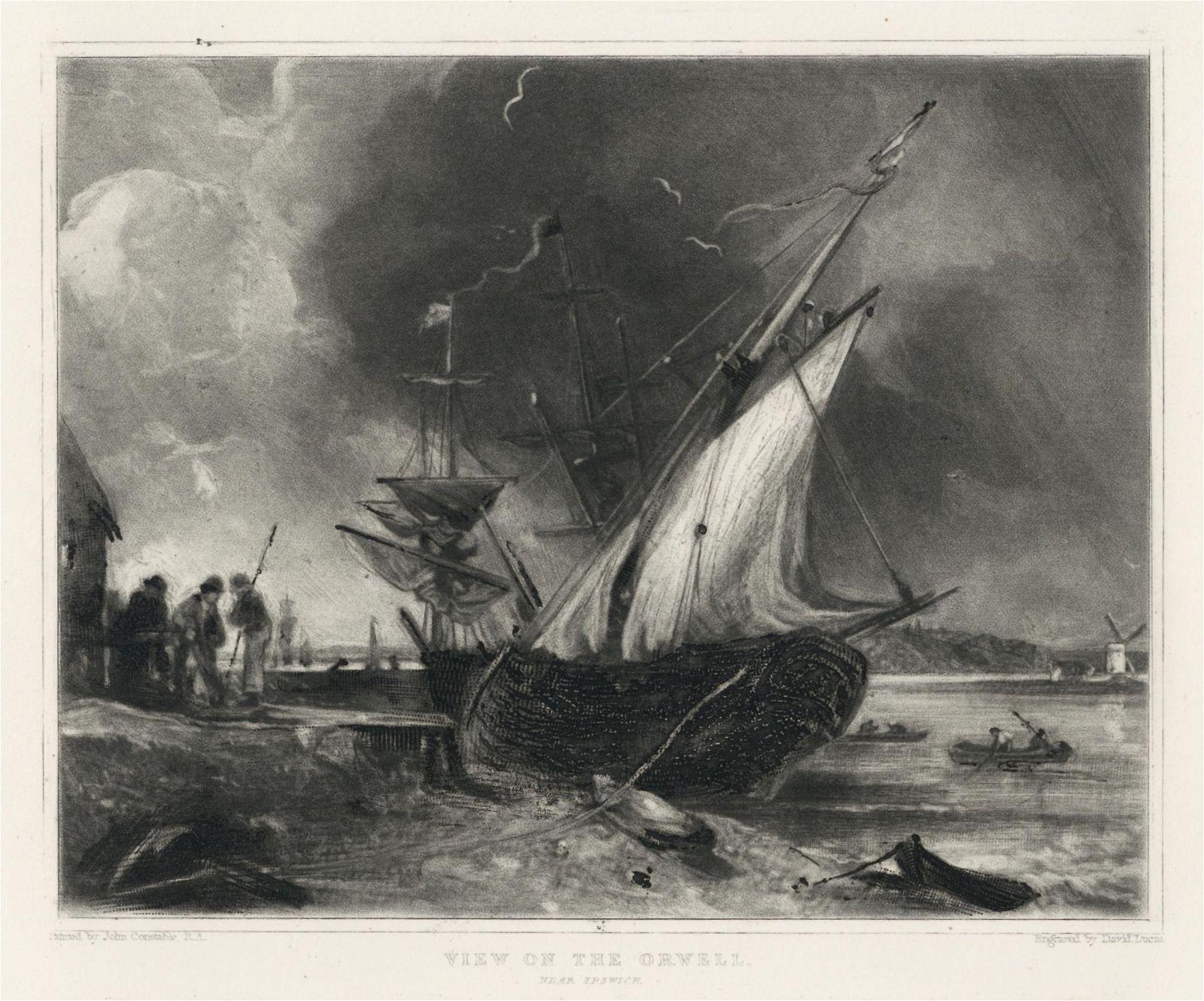 "Sir John Constable / David Lucas mezzotint ""View on the"
