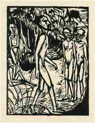 "Erich Heckel ""Manner am Strand"" original woodcut"