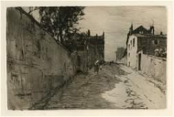 "Charles Platt original etching ""Rue du Mont Cenis,"