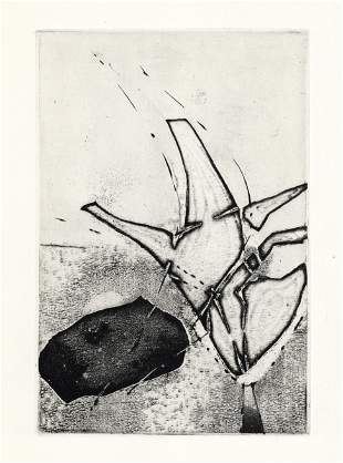 Enrique Zanartu original etching for Paroles Peintes