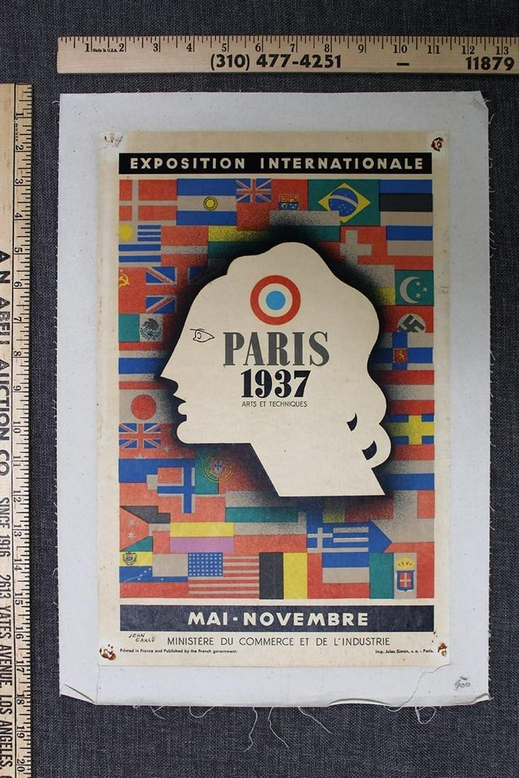 "1937 Paris Exposition - Art by Jean Carlu (1937) 12.5"""