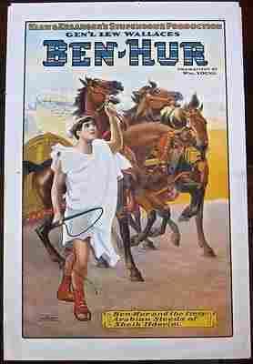 BEN HUR - ORIGINAL 1910 THEATRE POSTER - VERY RARE