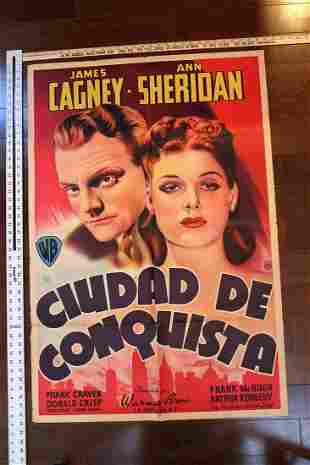 """City for Conquest (1940) 30"""" x 42.5"""" Spanish Movie"""
