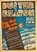 1930 SWEDISH POSTER - AMAZING RARE BUSTER KEATON