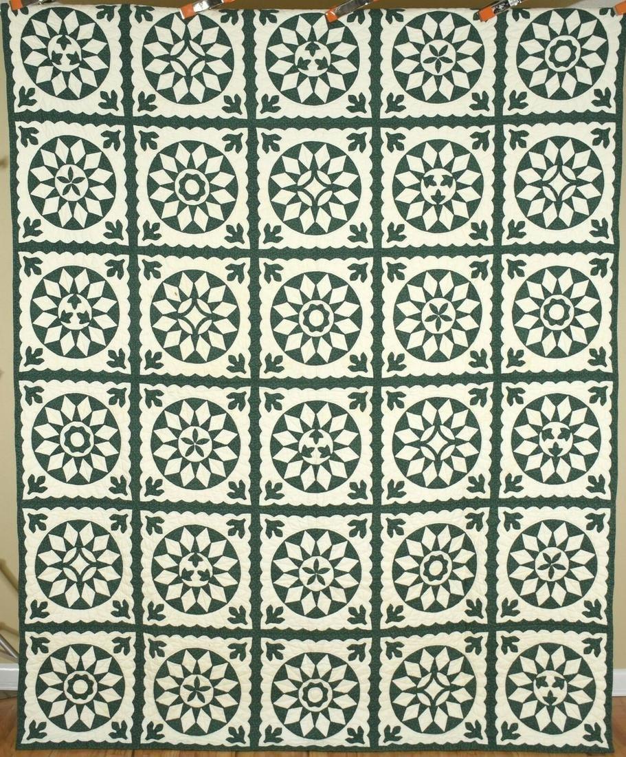 40s Green & White Mariner's Compass Antique Quilt